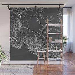 Genoa Map, Italy - Gray Wall Mural