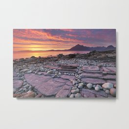 III - Spectacular sunset at the Elgol beach, Isle of Skye, Scotland Metal Print