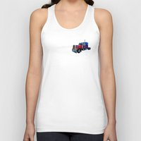 optimus prime Tank Tops featuring Optimus Prime Blue by Steve Purnell