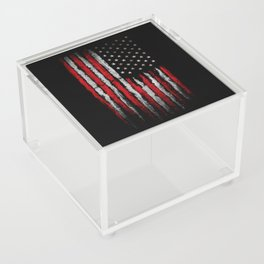 Red & white Grunge American flag Acrylic Box