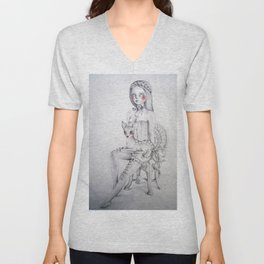 The girl and the fawn Unisex V-Neck