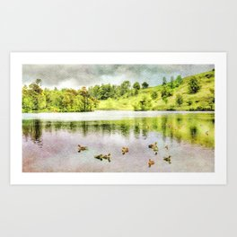 Ducks on the Water, Lake District, Cumbria, UK. Watercolor Painting. Art Print