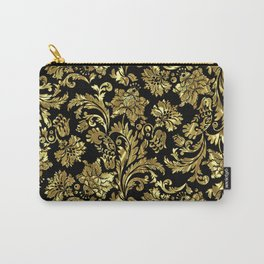 Black & Shiny Gold Vintage Floral Damasks Carry-All Pouch