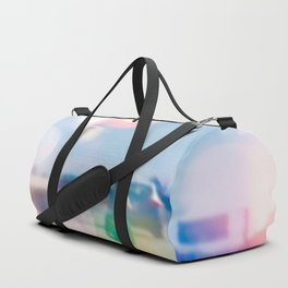 car and motorcycle on the road in the city with bokeh light Duffle Bag