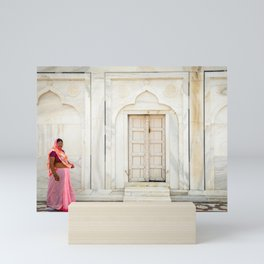 Woman in Sari - Taj Mahal Mini Art Print