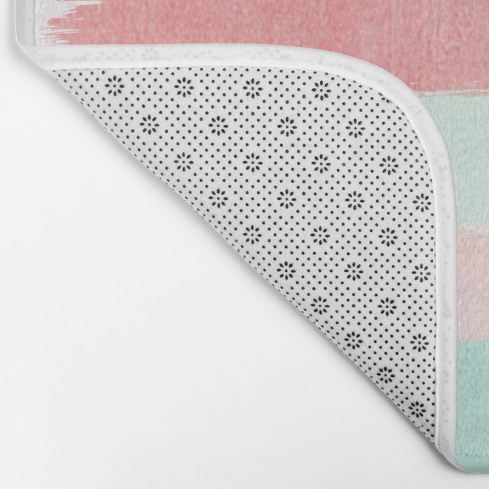 Painterly Stripes abstract trendy colors gender neutral seaside coral tropical minimal Bath Mat