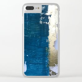 Rain [1]: a minimal, abstract mixed-media piece in blues, white, and gold by Alyssa Hamilton Art Clear iPhone Case