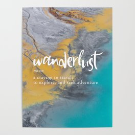 Wanderlust Definition - Topographical Map Poster