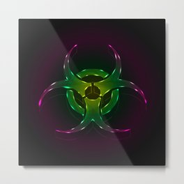 An illustration of a fluorescent biohazard symbol.  Metal Print