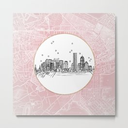 Boston, Massachusetts City Skyline Illustration Drawing Metal Print