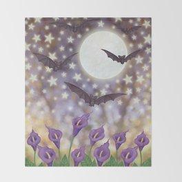 the moon, stars, bats, & calla lilies Throw Blanket