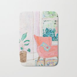 A Room with a View - Pink Armchair by the Window Bath Mat