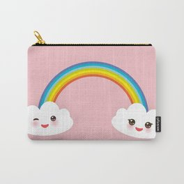 Kawaii funny white clouds, muzzle with pink cheeks and winking eyes, rainbow on light pink Carry-All Pouch