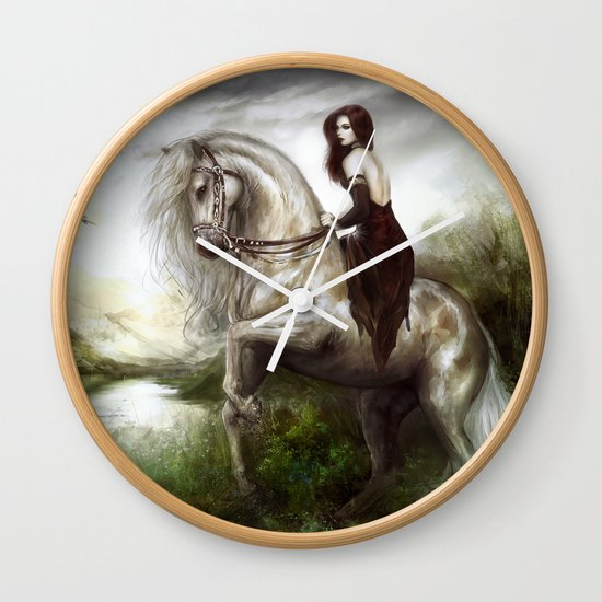 Morning welcome - Royal redead girl riding a white horse Wall Clock