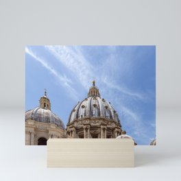 St Peter's basilica dome close-up view in Vatican - Rome, Italy Mini Art Print