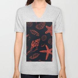 Underwater creatures in red and dark blue Unisex V-Neck