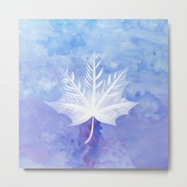 Fall Watercolor - Blue Violet Leaf Metal Print