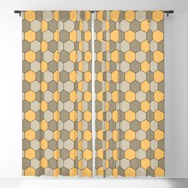 Honeycombs op art beige Blackout Curtain