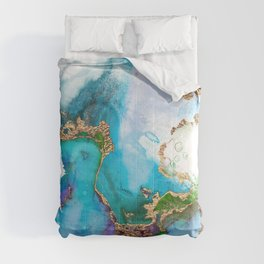 Abstract Marble Mermaid Gemstone With Gold Glitter Comforters