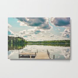 A Basic Dock in Water Metal Print