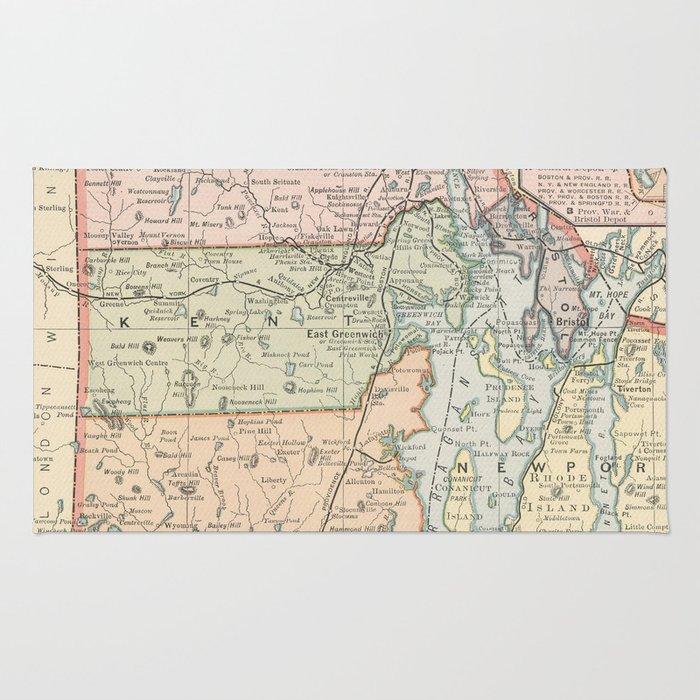 Vintage Map of Rhode Island (1891) Rug