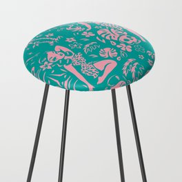 Tiki Temptress in Pink and Turquoise Counter Stool
