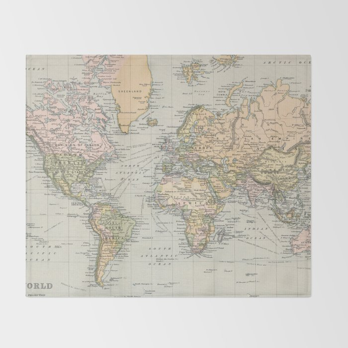 1892 Map Of The World.Vintage Map Of The World 1892 Throw Blanket By Bravuramedia Society6