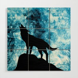 Howling Winter Wolf snowy blue smoke Wood Wall Art