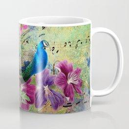 Elegant Peacock Image and Musical Notes Coffee Mug