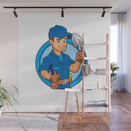 Cartoon plumber holding a big shovel. Wall Mural