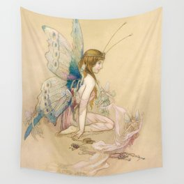 """""""There May Be Fairies"""" Art by Warwick Goble Wall Tapestry"""