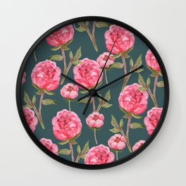 Pink Peonies On Green Background Wall Clock