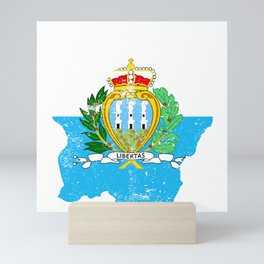 Distressed San Marino Map Mini Art Print