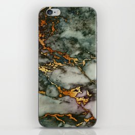 Gray Green Marble Glitter Gold Metallic Foil Style iPhone Skin