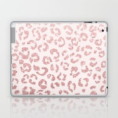 Faux pink glitter leopard pattern illustration on pink lace Laptop & iPad Skin