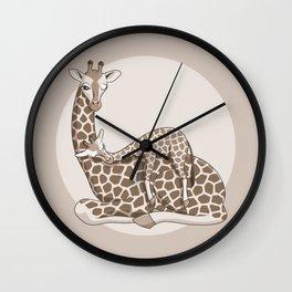 Giraffes, light brown Wall Clock