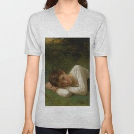 "William-Adolphe Bouguereau ""Le Repos (Jeune Fille Couchée)(Young Girl Lying Down)"" Unisex V-Neck"