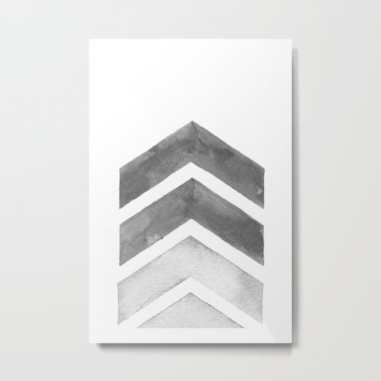 Grey Watercolor Chevron Art Metal Print