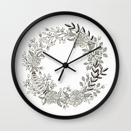 Black and White Floral Wreath Wall Clock