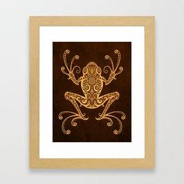 Intricate Golden Brown Tree Frog Framed Art Print