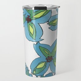 Lime Blue Florals Travel Mug