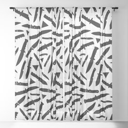 Survival Knives Pattern - Black and White Sheer Curtain