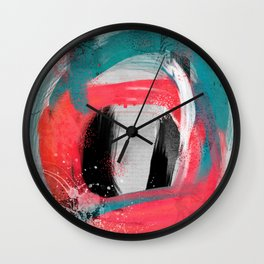 blue meets pink on a cloudy day Wall Clock