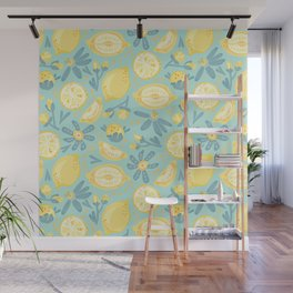 Lemon Pattern Mint Wall Mural