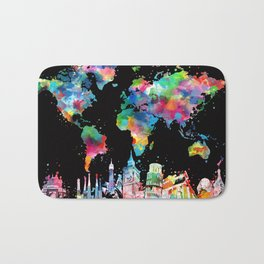 world map city skyline 3 Bath Mat