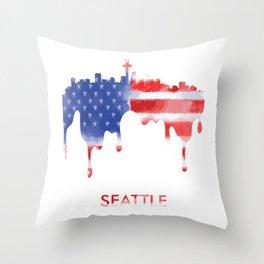Seattle Washington American Flag Gift Throw Pillow