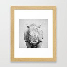 Rhino 2 - Black & White Framed Art Print