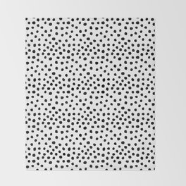 Preppy black and white dots minimal abstract brushstrokes painting illustration pattern print Throw Blanket