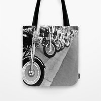 bikes Tote Bags featuring Bikes by M. Gold Photography