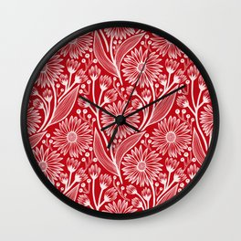 Holly Berry Red Coneflowers Wall Clock